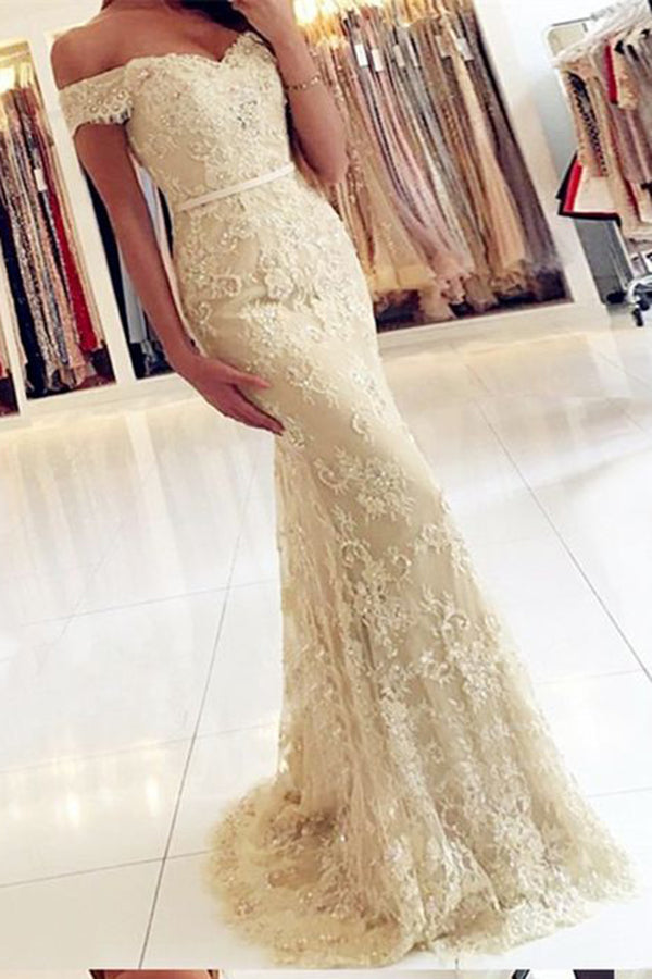 Fashion Off Shoulder Elegant Prom Party Dresses,Formal Evening Gowns Dress with appliques P528