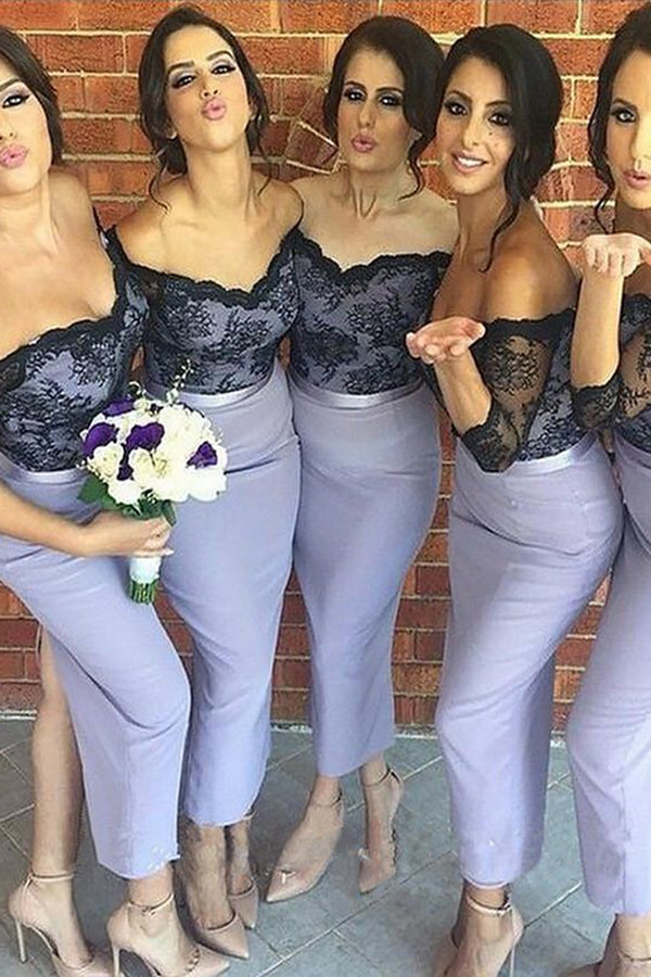 Lavender Mermaid Lace 1/2 Sleeves Off-the-Shoulder Ankle-Length Bridesmaid Dresses,Wedding Party Dresses B352