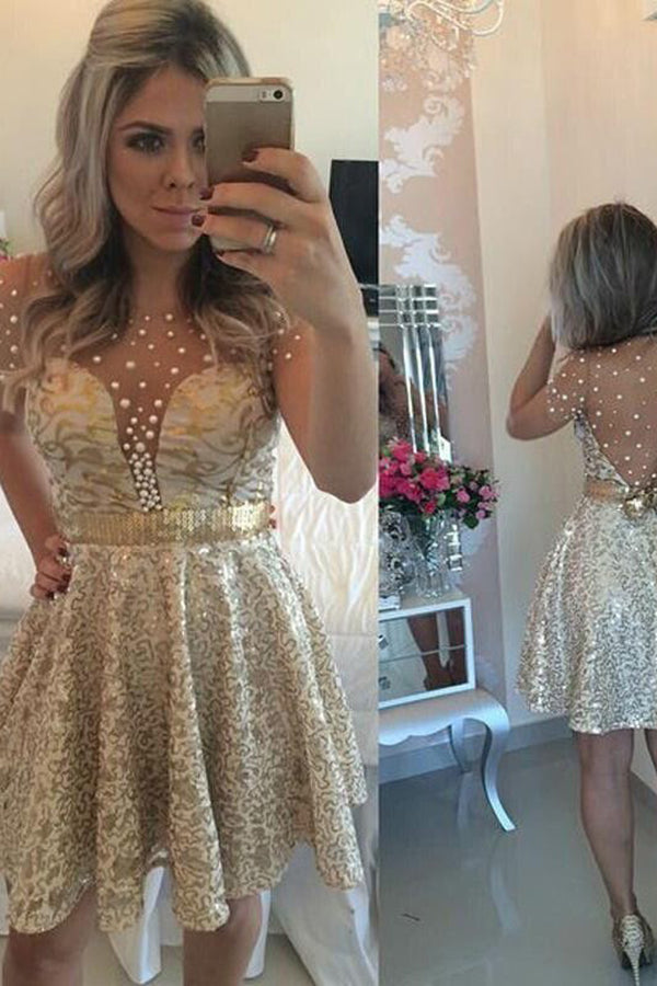 Charming Golden A-Line Sleeveless Scoop Sequin Satin Homecoming Dresses M295 - Ombreprom