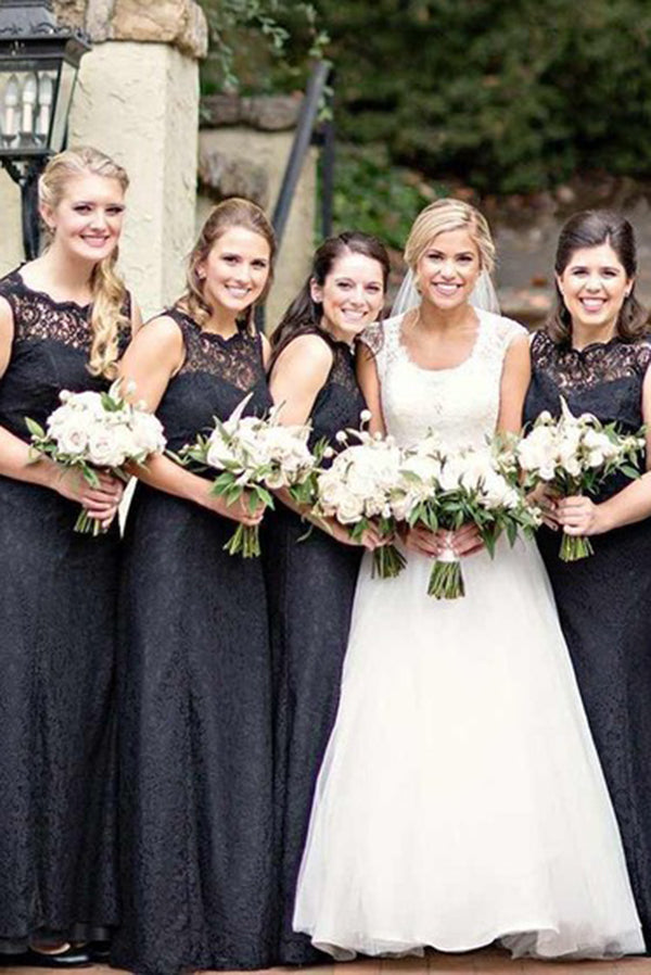 Black Round Neck Sleeveless Lace Appliques Floor Length Bridesmaid Dress B460