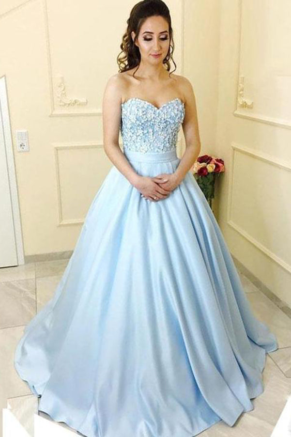 Delicate Sweetheart Blue Sweep Train Ball Gown Satin With Appliques Prom Dress P739