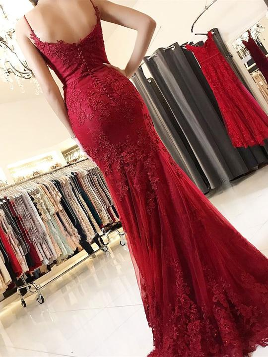 Impressive Red Spaghetti Straps Mermaid With Lace Appliques Prom Dress P737