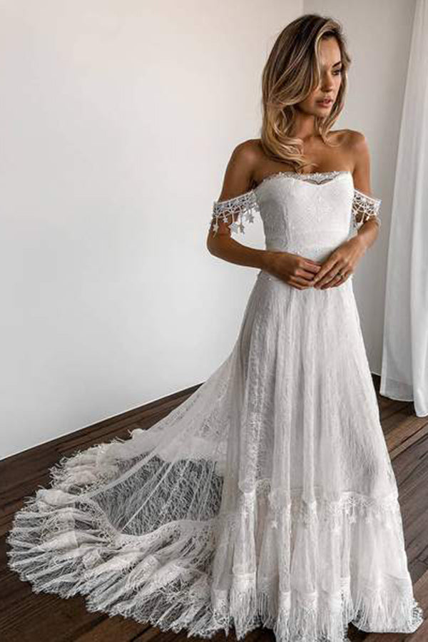 Delicate Off Shoulder Strapless Sweep Train Lace Wedding Dress W523