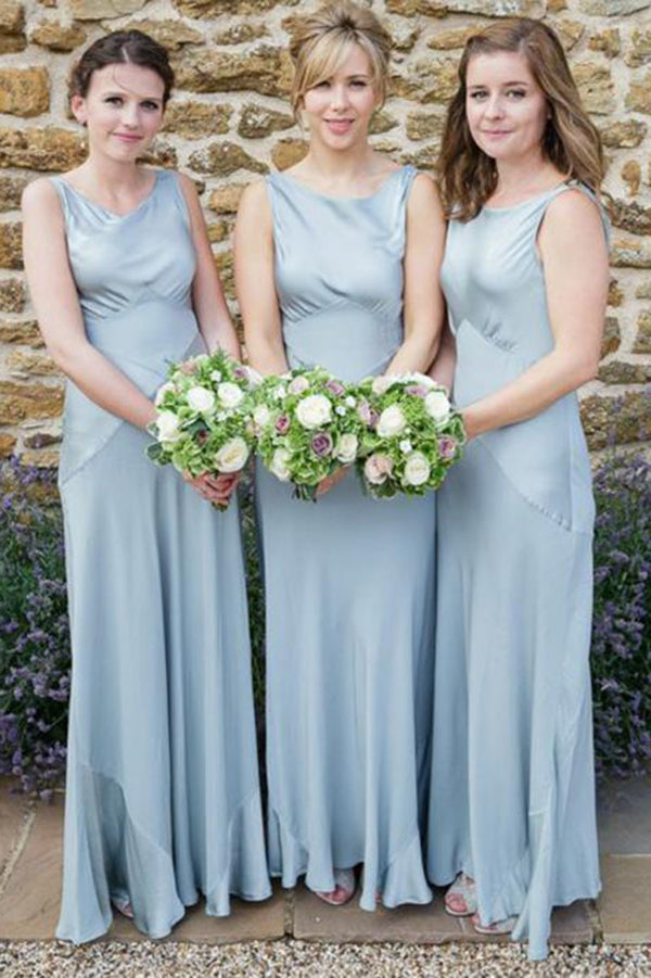Simple Round Neck Sleeveless Long Formal Bridesmaid Dress B400