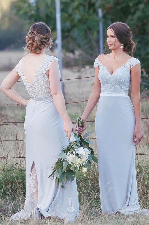 Elegant Off Shoulder Chiffon Sweep Train V Neck Lace Bridesmaid Dress B436