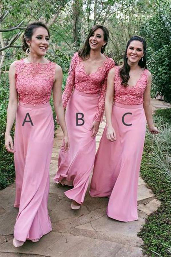 Mismatched Pink Appliques Chiffon Floor Length Long Bridesmaid Dress B452