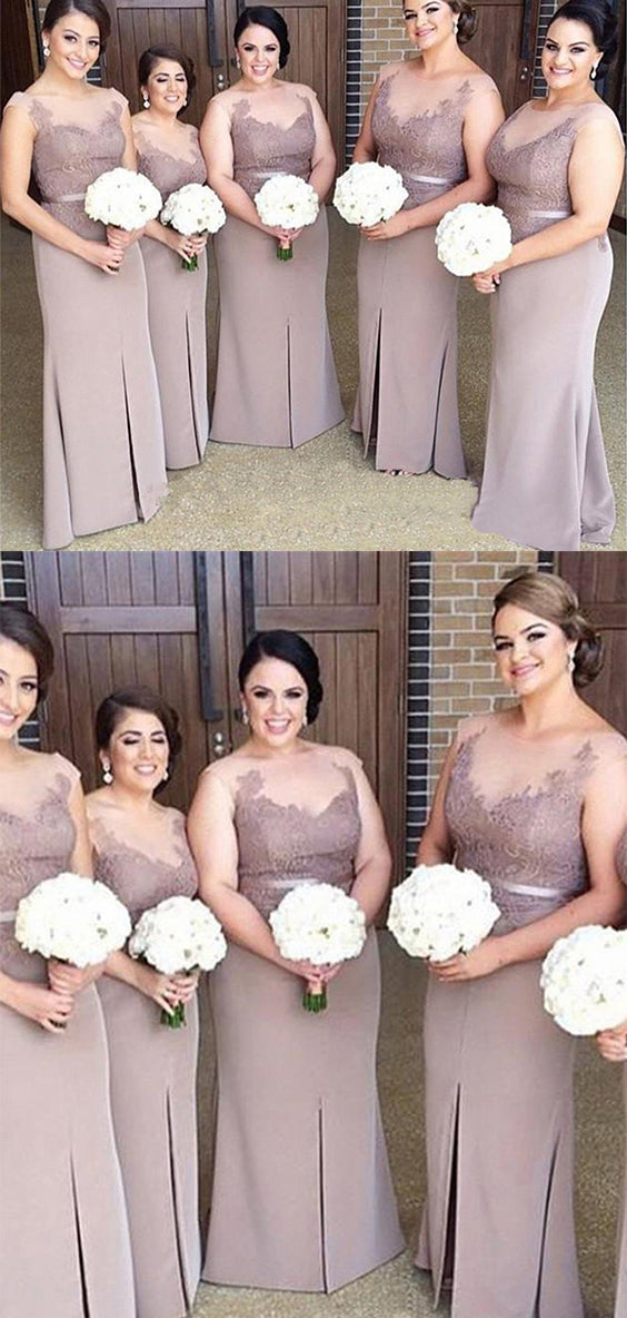 Elegant Round Neck Lace With Apppliques Bridesmaid Dress B368