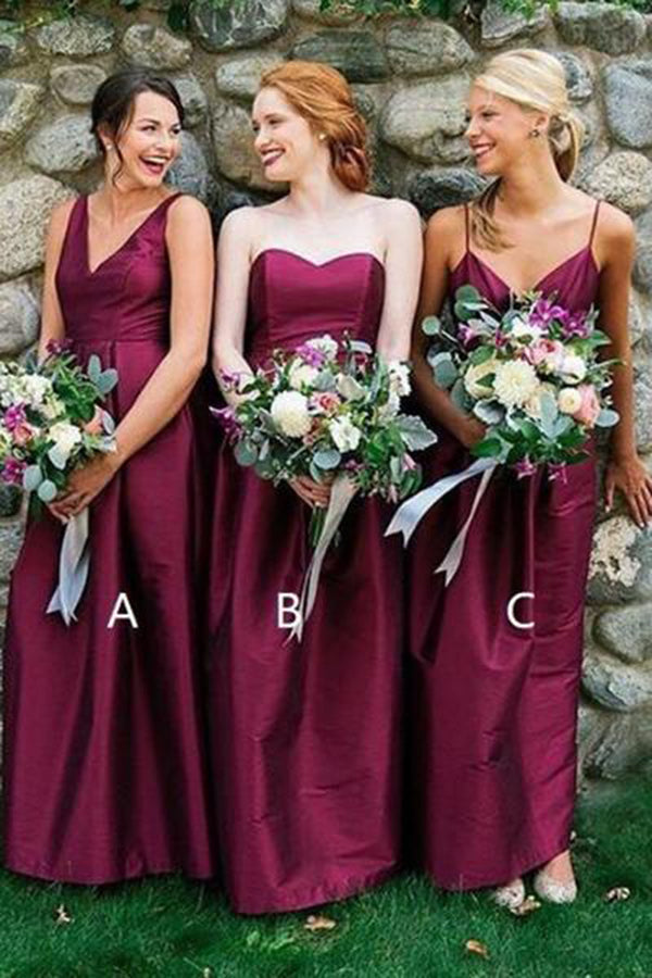 Cheap V Neck Sleeveless Burgundy Floor Length Bridesmaid Dress B450