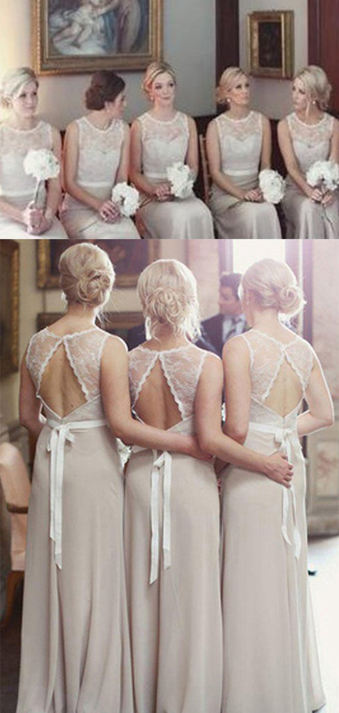 Chic Chiffon Open Back With Lace Apppliques Bridesmaid Dress B367