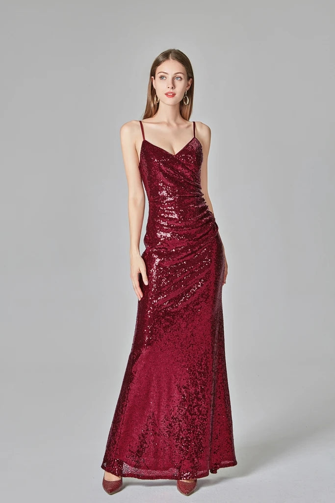 Affordable Simple Spaghetti Straps Long Burgundy Sparkly Prom Dresses M965