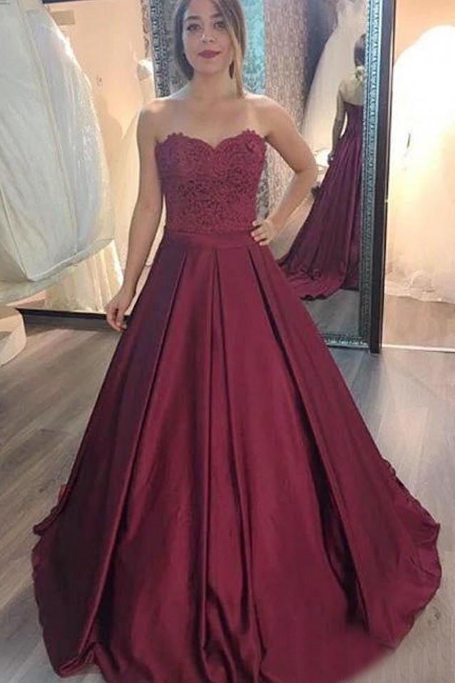 Burgundy A Line Sweetheart Top Lace Prom Dress D379
