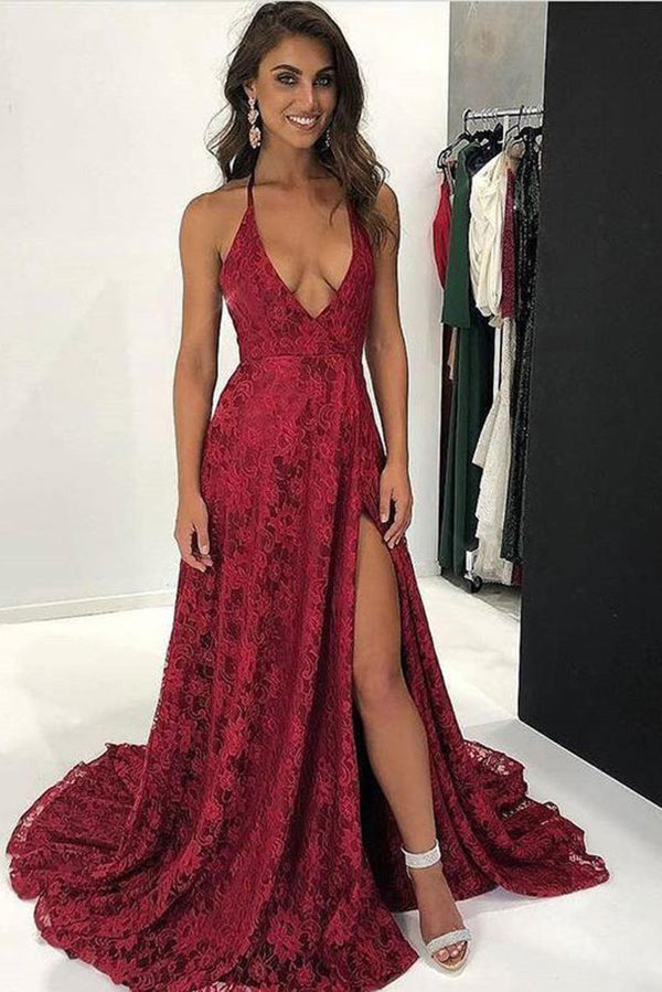 Gorgeous Lace Appliques Spaghetti Straps V Neck With Split Prom Dress P656