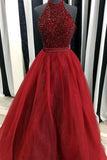 Cheap Red Ball Gown High Neck Sleeveless Floor-Length Beading Long Prom Dresses P564 - Ombreprom