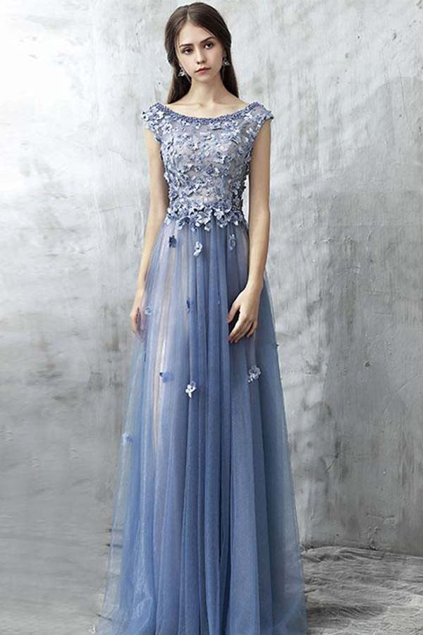 Charming Sleeveless Blue Round Neck Long Prom Dress P698