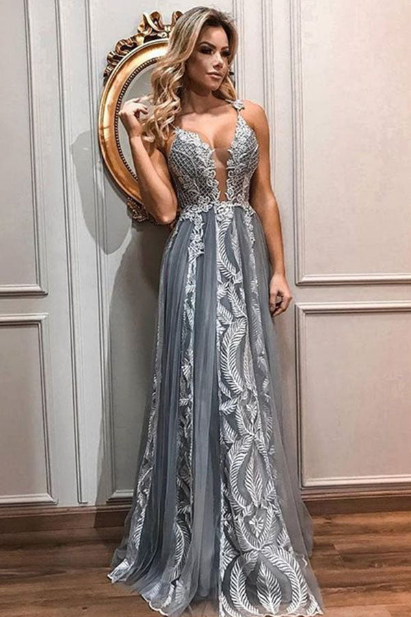 Charming Spaghetti Straps Floor Length With Appliques Prom Dress P665 - Ombreprom