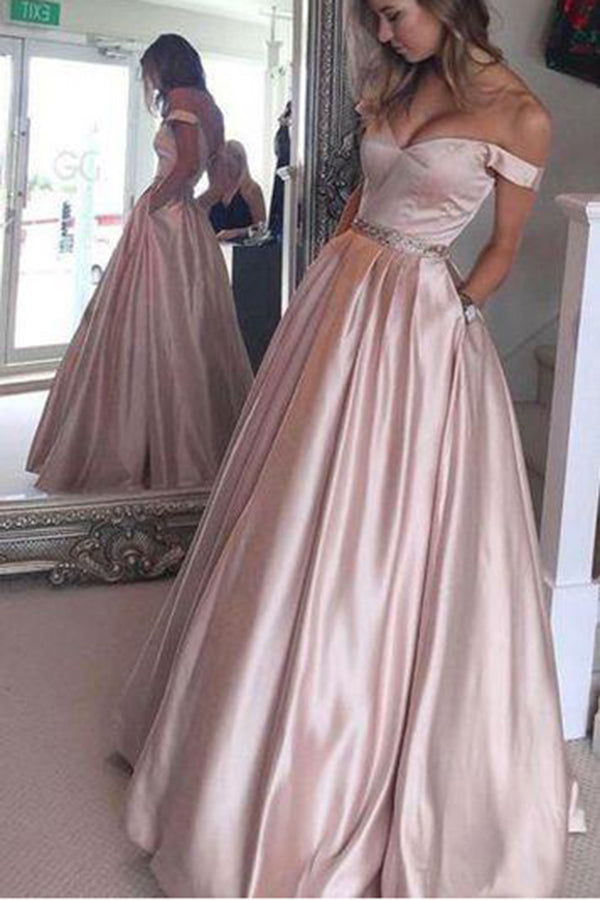 Pink Off-Shoulder Sleeveless Floor-Length Long Prom Dress with Beading P543