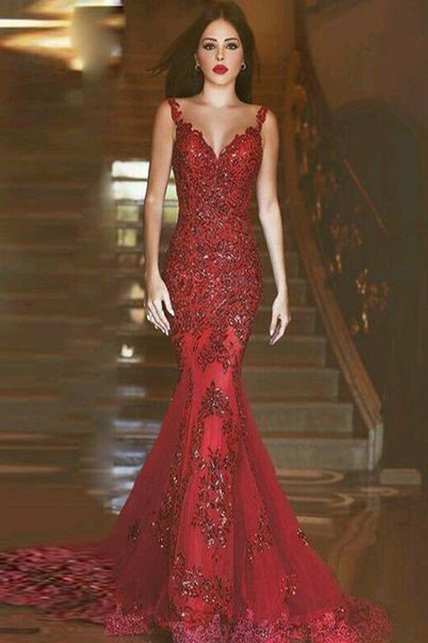 Red Tulle Mermaid V-Neck Sleeveless Sweep Train Long Prom Dresses with Beading P547