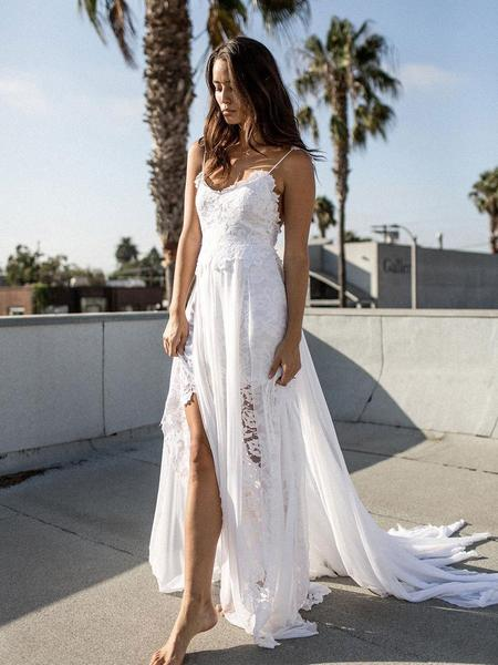 Simple Spaghetti Straps Backless With Split Side Appliques Beach Wedding Dress W418
