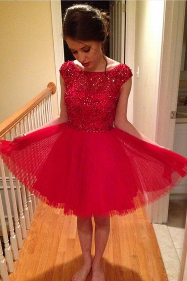 Cheap Red A-Line Tulle Sleeveless Scoop Beading Knee-Length Homecoming Dresses M296 - Ombreprom