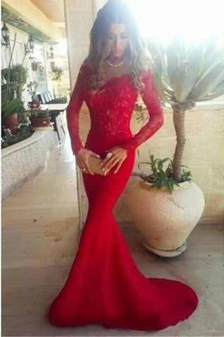 Sexy Red Mermaid Off-Shoulder Sweep Train Long Sleeves Lace Long Prom Dresses P565