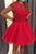 Impressive Red Open Back Round Neck Lace Appliques Homecoming Dress M578