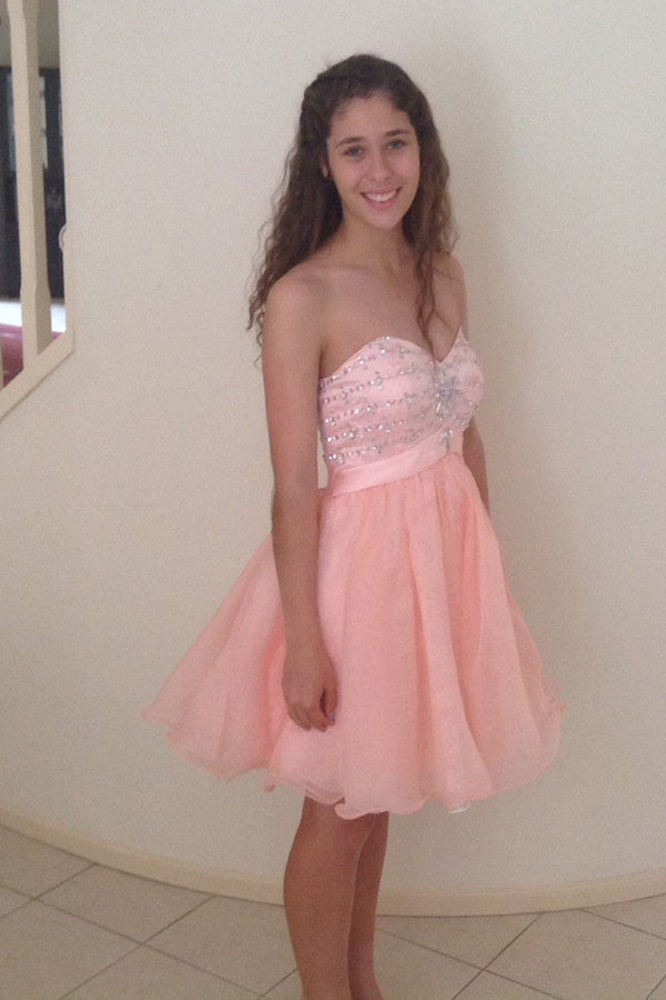 A-Line/Princess Sweetheart Short/Mini Tulle Homecoming Dress With Beading Sequins - Ombreprom