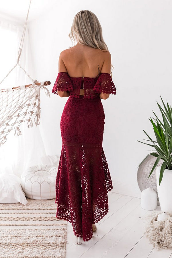 Burgundy Two Piece High Low Off-the-Shoulder Mermaid Lace Homecoming Dresses M312 - Ombreprom