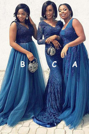 Elegant Formal V Neck Sweep Train Tulle Lace Appliques Bridesmaid Dress B451