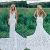 Charming V Neck Sheath Wedding Gowns,Sweep Train Appliques Wedding Dress OMW55