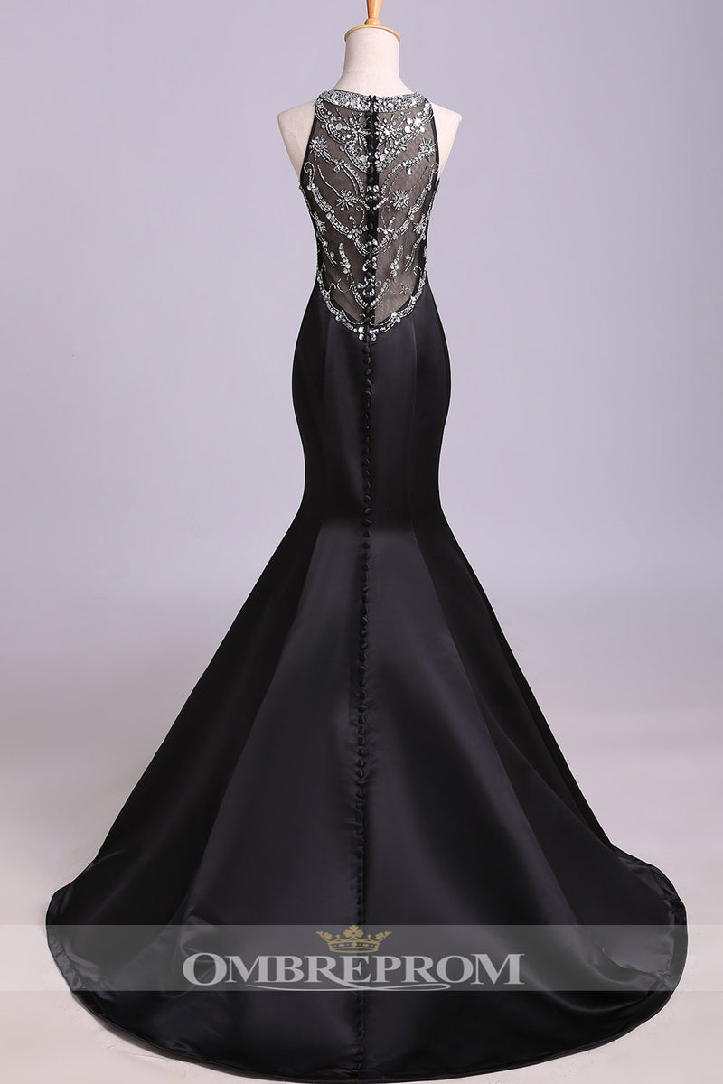 Impressive Black Mermaid With Beading Satin Trumpet Sleeveless Prom Dress P770