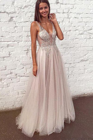 b57f05a74ae Elegant V Neck Sleeveless Floor Length Tulle Party Dresses Prom Dress with  Appliques P929