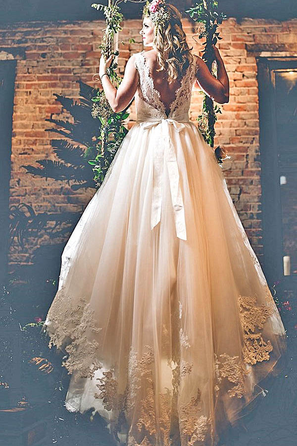 Charming Lace Appliques V Back Round Neck  Sleeveless Ball Gown Wedding Dress W388 - Ombreprom