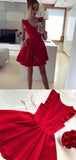 Sexy Red Satin Sleeveless A Line V Neck Homecoming Dress M593