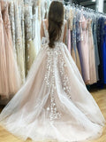 Charming Long Tulle Sleeveless Appliques Wedding Dress Prom Dress OMW52 - Ombreprom
