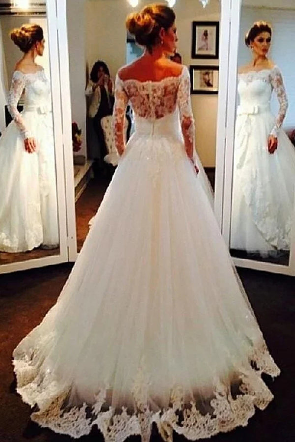 Elegant Off the Shoulder Long Sleeves Ball Gown Lace Appliques Wedding Dresses W377