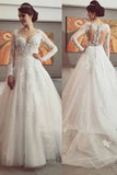 Gorgeous V Neck Long Sleeves Lace With Appliques Ball Gown Wedding Dresses W384