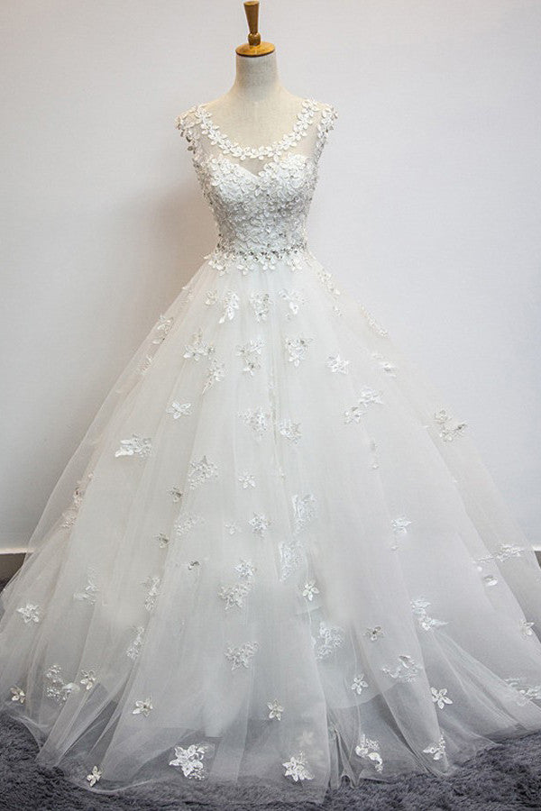 Organza Scoop Cap Sleeves Floor-Length Wedding Dress with Beading Appliques