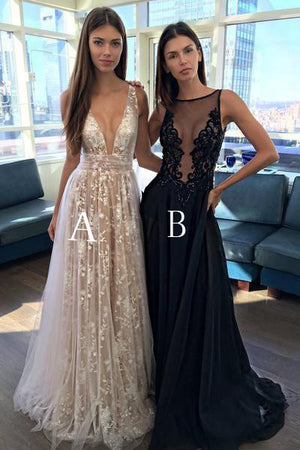 38a54003b2df Appliques A-Line V-Neck Long Prom Gowns Tulle Lace Prom Dress ...