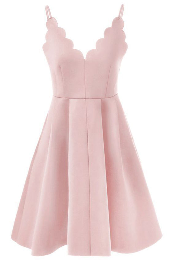 Sexy Straps A-Line Deep V-Neck Sleeveless Satin Homecoming Dress M472