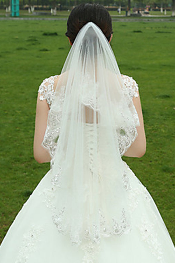 Charming Two-tier Lace Applique Edge Wedding Bridal Veil V17 - Ombreprom