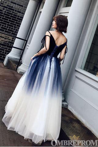 Ombre Prom Dress Spaghetti Straps A Line Ball Gown D284