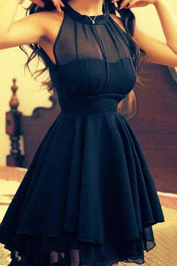 Sexy Black A-Line Chiffon Jewel Sleeveless Short/Mini Homecoming Dresses M293 - Ombreprom