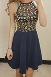 Navy Blue Chiffon A-Line Sleeveless Halter Beading Homecoming Dresses