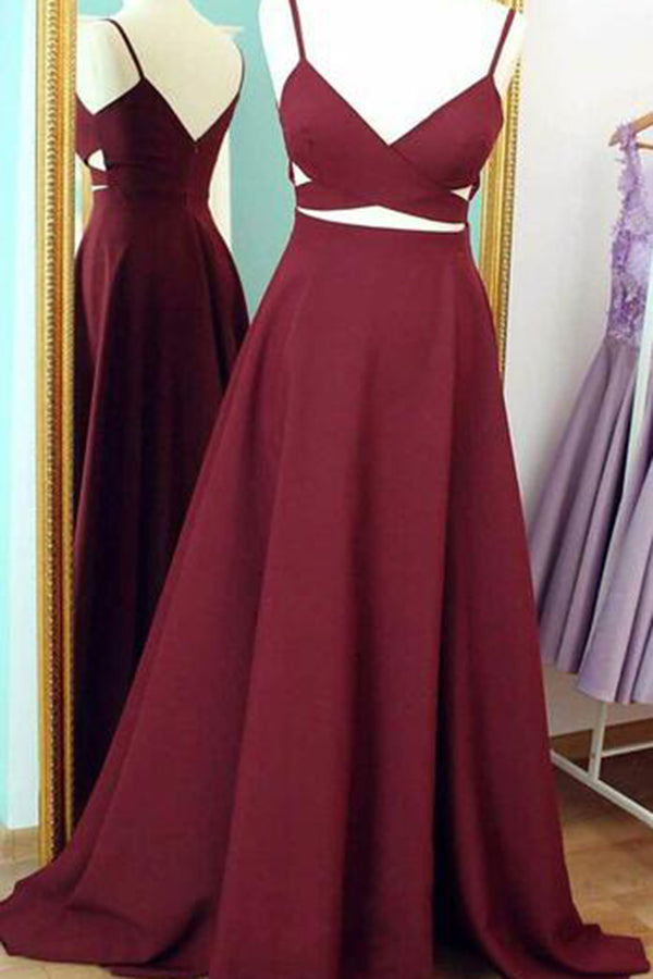 Charming V Neck Spaghetti Straps Floor Length Prom Dress P647
