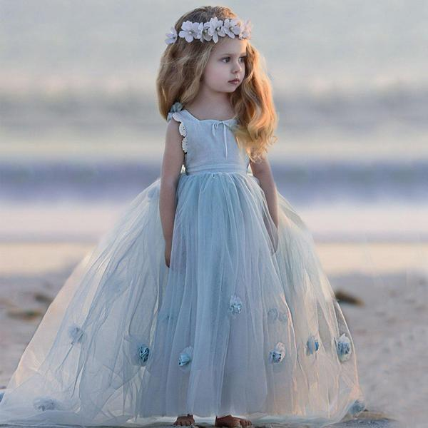 Blue Round Neck Ball Gown Tulle Sleeveless Flower Girl Dresses F100