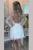 White Deep V Neck Homecoming Dresses,Long Sleeve Appliques Short Prom Dress HCD123