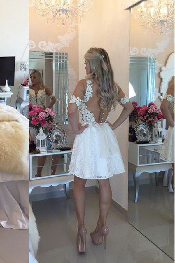 White Deep V Neck Homecoming Dresses,Short Sleeve Appliques Pearl Beading Belt Short Prom Dress HCD128