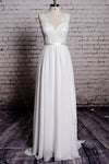 A-line Lace Chiffon V-Neck Backless Sheath Long Wedding Dress W28 - Ombreprom