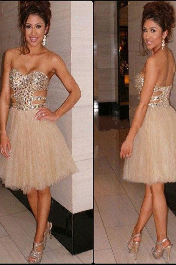 A-Line Sleeveless Sweetheart Knee-Length Mid-Back Sequin Tulle Homecoming Dresses M302 - Ombreprom