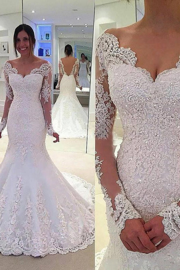 Elegant Tulle Mermaid Deep V-Back Long Sleeves Court Train Wedding Dresses with Lace